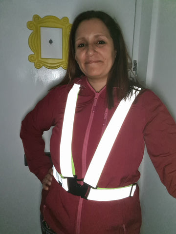 Renata wearing our BTR reflective silver sash. Great customer photo added by BTR Sports