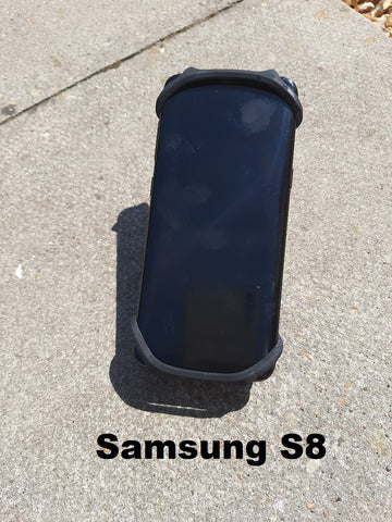 Samsung S8 phone in BTR Bicycle Phone Mount to sit on your handlebars