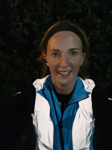Ladies BTR coloured and reflective gilet in blue shown worn by customer, Selina