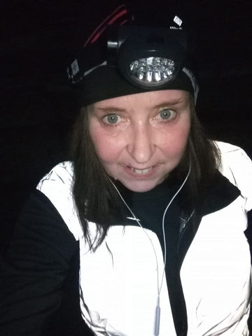 Sharon, a customer photo of her wearing our high vis reflective gilet - looking great!