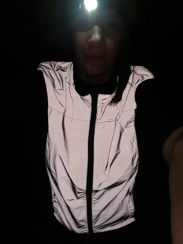 BTR silver reflective high visibility gilet and vest worn by a lady