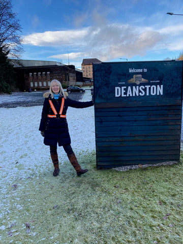 BTR high vis reflective orange sash worn by lady at Deanston Distillery