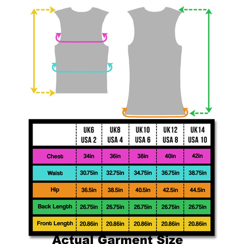 BTR Be Totally Reflective Ladies gilet size chart