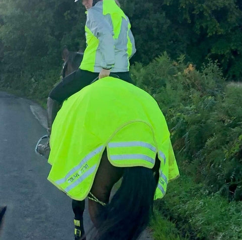 high vis and reflective jacket from BTR worn on a horse rider, equestrian