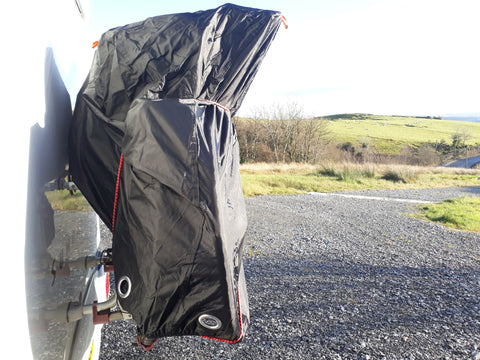 BTR Bike Cover on the back of a mobile home to safely keep your bike dry