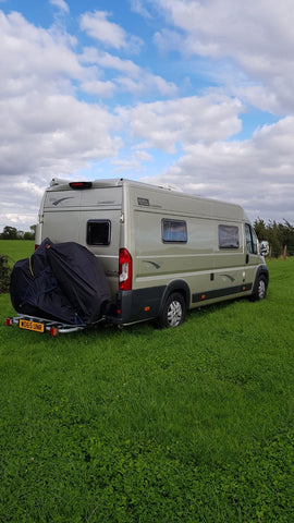 BTR Waterproof XL Bike Cover on Campervan with two bicycles
