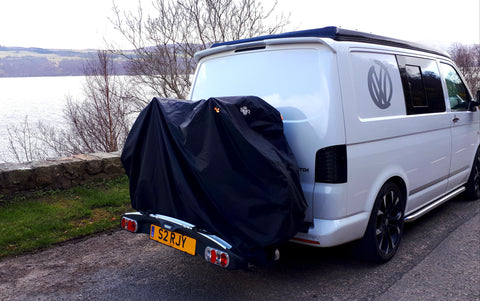 btr heavy duty bike cover on back of camper van