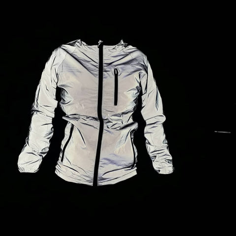 BTR reflective silver high cycling and running womens jacket