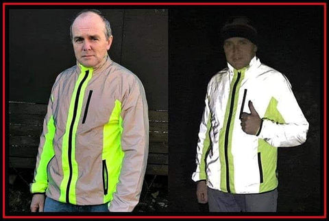 BTR hi vis and yellow jacket shown with reflective panels in dark - be reflective
