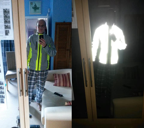 Bright visible image fo BTR sports jacket in the day and with a reflective photo flash. customer review image