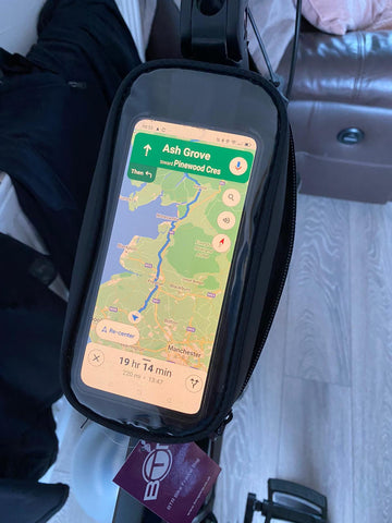 BTR Bike frame bag shown on bike with mobile phone in it