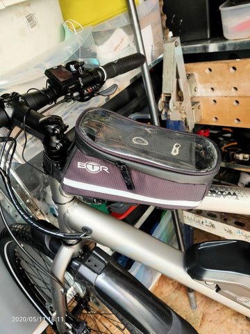 BTR deluxe bike phone bag holder on bike in garage