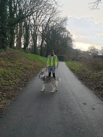Dog walking in BTR Sports jacket - hi vis yellow and reflective panels - customer review image