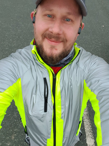 BTR sports jacket high vis and yellow shown worn with a selfie