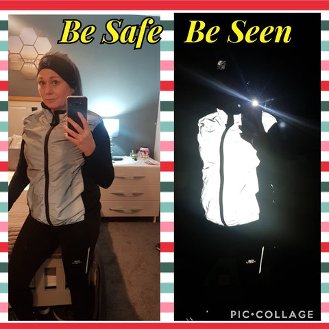 reflective gilet with no pockets shown worn by Joanne, BTR Totally Reflective gilet
