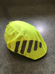 bicycle helmet with small peak with waterproof helmet cover attached