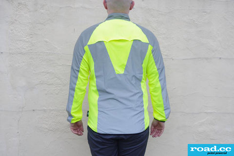 BTR high vis & reflective cycling / running jacket  shown from road.cc review worn in the daylight with yellow hi vis showing bright