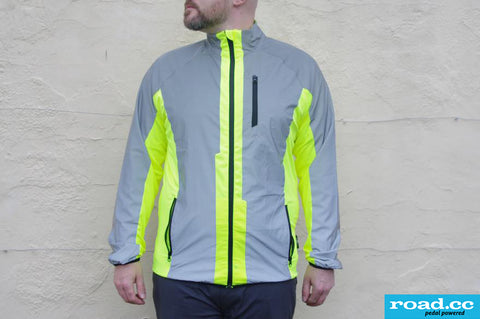 Road.cc review image of the BTR cycling & running jacket worn in the day light showng hi vis