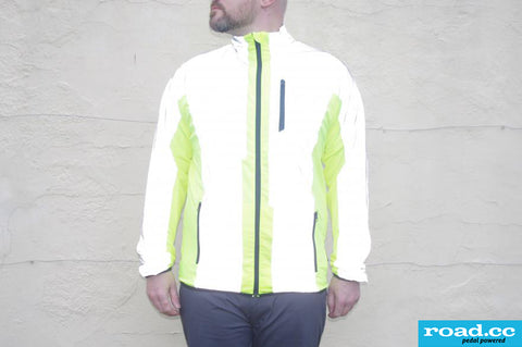 Road.cc review image of the BTR cycling & running jacket - shown with reflective shining bright