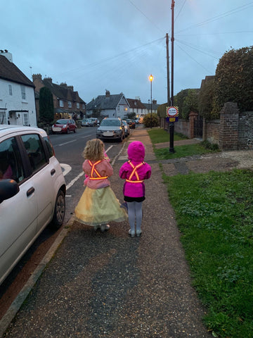 School disco! Party time - young ladies wearing the BTR high vis and reflective kids sash