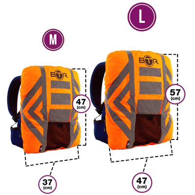 BTR Waterproof High Visibilty Backpack Rain Cover with 2 x High Vis Bands Orange or Yellow
