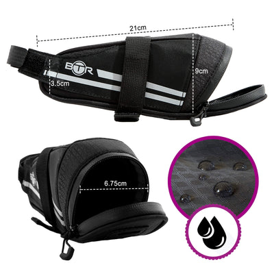 BTR Saddle Wedge Bike Bag & Reflective Trim & Rear Bicycle Light Loop
