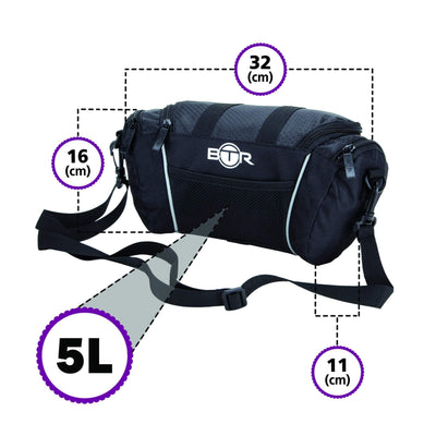 BTR Handlebar Storage Bike Bag With Removable Shoulder Strap