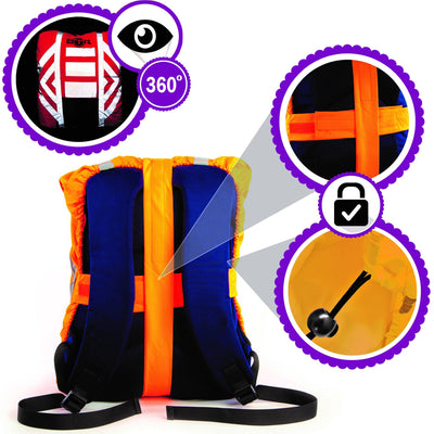 BTR High Visibility Reflective Waterproof Backpack Rucksack Rain Cover