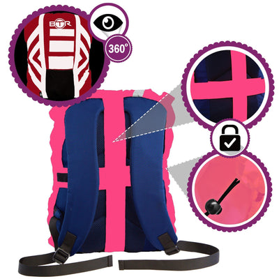 Pink high vis waterproof backpack cover with reflective tape infographic