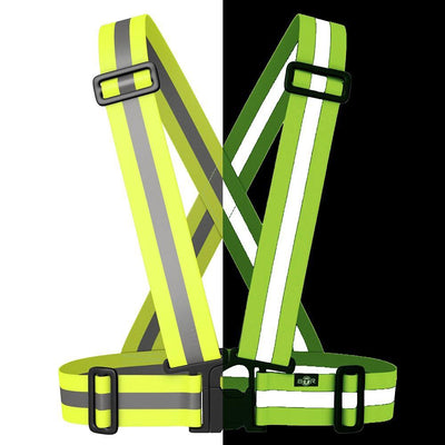 Fluorescent yellow hi vis reflective sash for cycling, running and horse riding etc