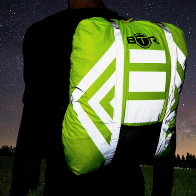 Waterproof High Vis Fluorescent Yellow Reflective rucksack cover lifestyle image
