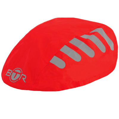 Waterproof high viz reflective red bike helmet cover
