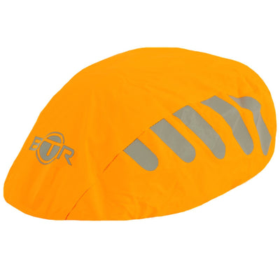 Waterproof high viz reflective orange bike helmet cover