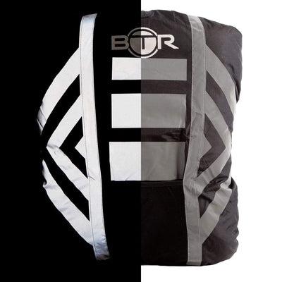 Waterproof hi vis black backpack cover with reflective tape. 50/50 image