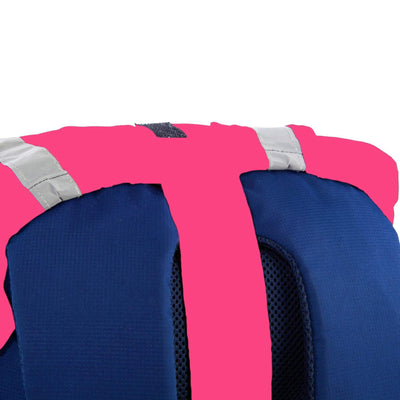 Pink hi visibility waterproof backpack cover with reflective tape rear strap image