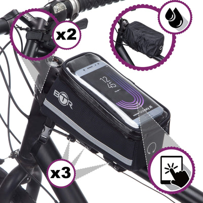 BTR Deluxe Bike Bag Phone Holder, Phone Mount & Waterproof Rain Cover GEN 5