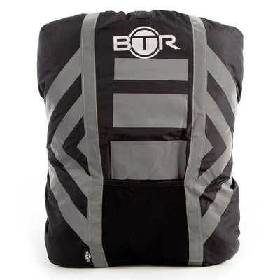 Waterproof hi vis black backpack cover with reflective tape