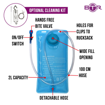 BTR Hydration Pack EVA Bladder, Water Bag 2L Capacity. BPA Free