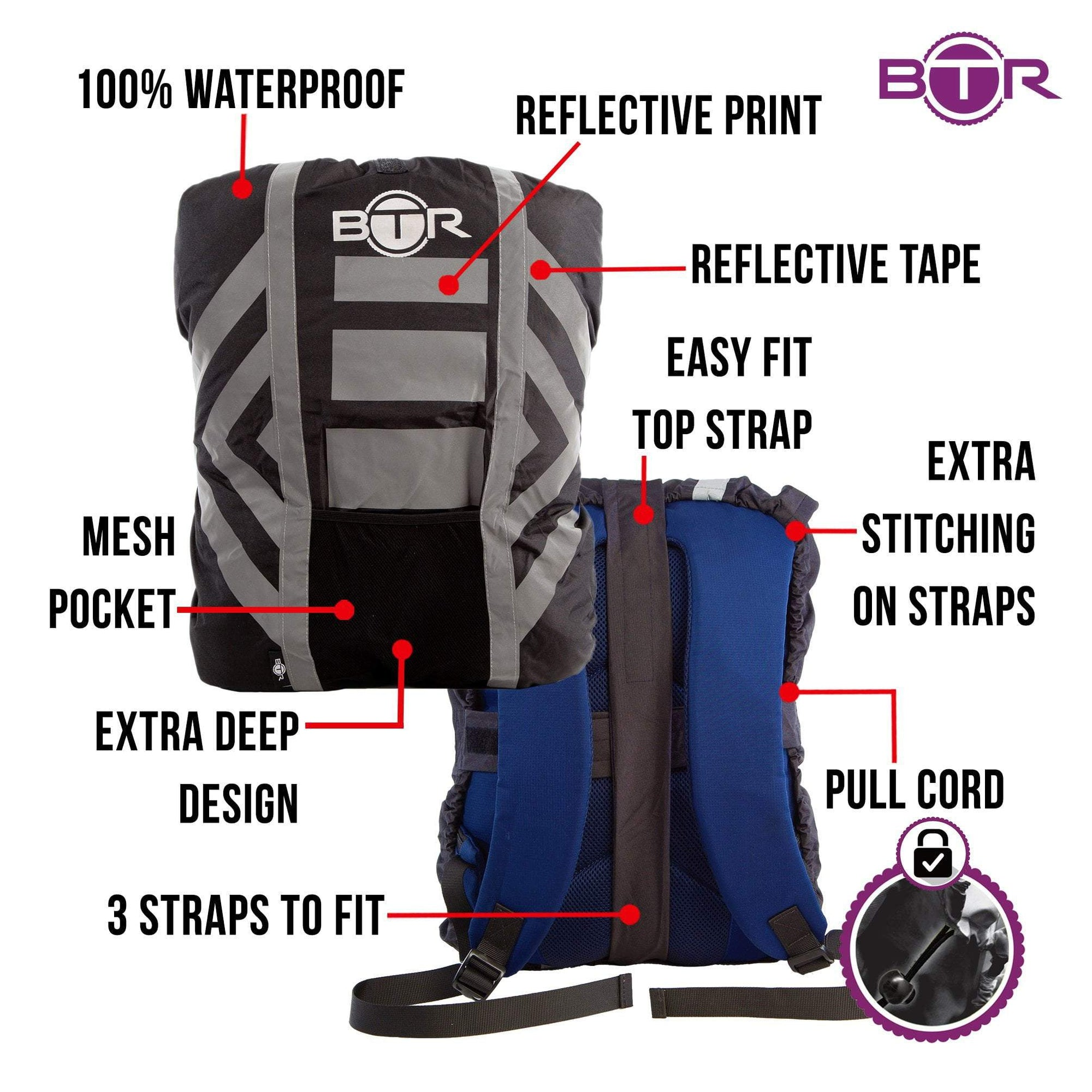 02f171a1d773 BTR High Visibility Reflective Waterproof Backpack Rucksack Rain Cover