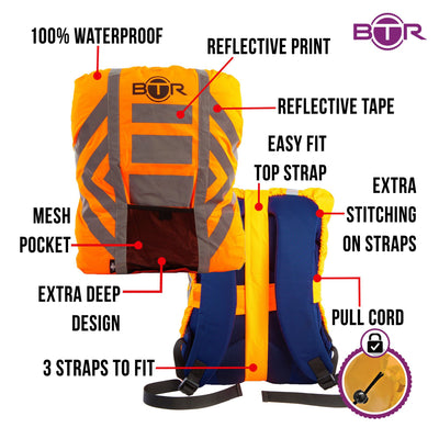 Orange waerproof backpack cover features infographic