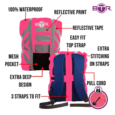 Pink hi viz waterproof backpack cover with reflective tape infographic