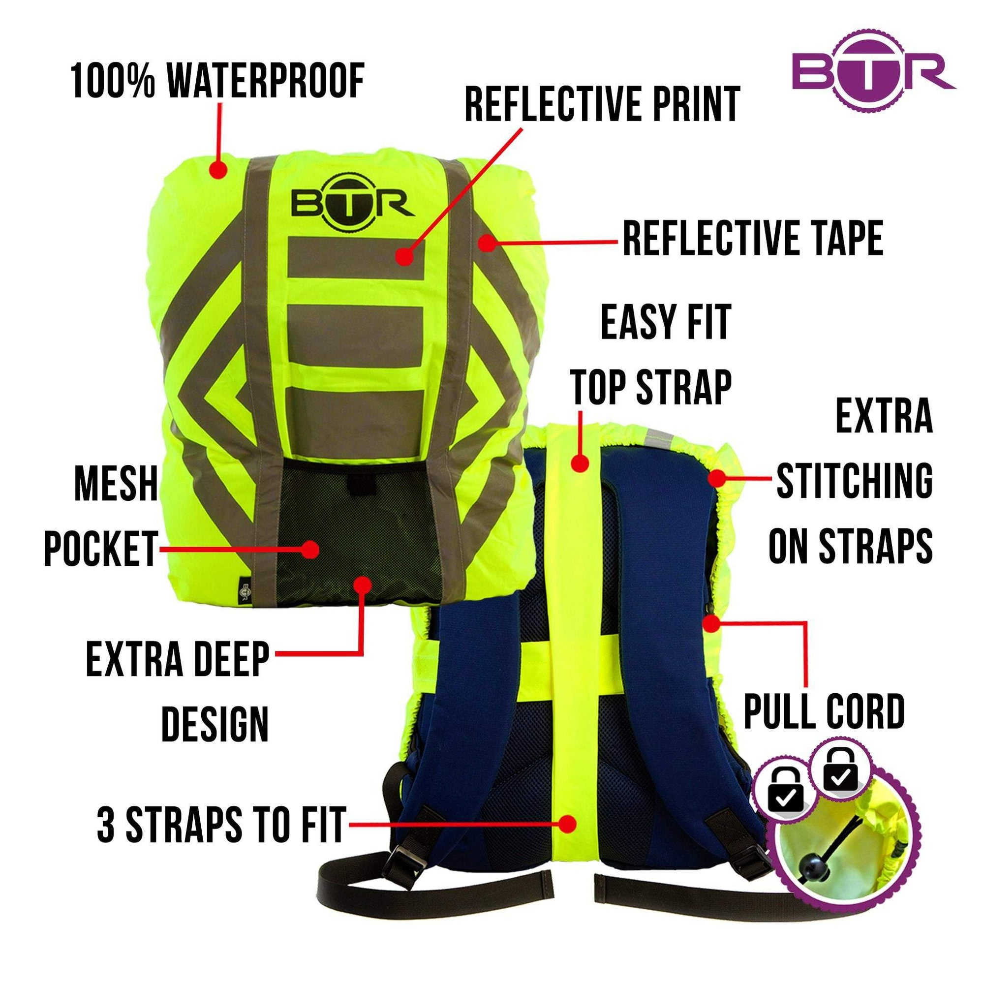 4b784a6ad9f BTR Waterproof High Vis Reflective Backpack Rain Cover with 2 x LED Bicycle  Lights
