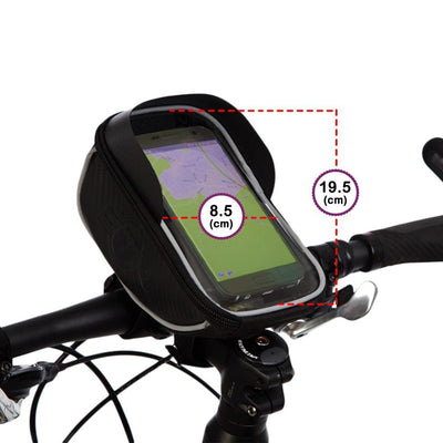 BTR Deluxe Bicycle Handlebar Bike Phone Bag with Built-in Sunvisor & 2 x LED Bicycle Lights
