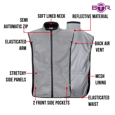 BTR Reflective Cycling & Running Gilet & Vest 3-Pockets (SECONDS)