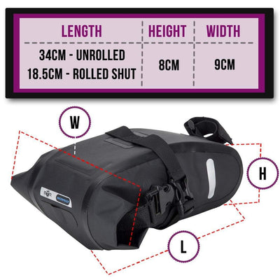 BTR Waterproof Under the Bike Saddle Wedge Style Bike Bag