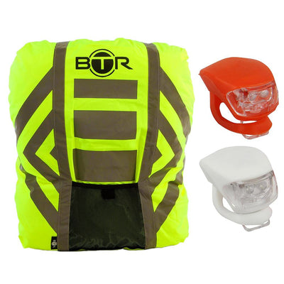 BTR Waterproof High Vis Reflective Backpack Rain Cover with 2 x LED Bicycle Lights