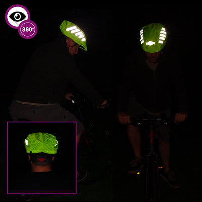 BTR Bike Reflective Helmlet Cover multi image night time shot