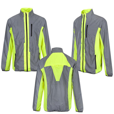 BTR Cycling & Running High Visibility Reflective Jacket front back and side on image