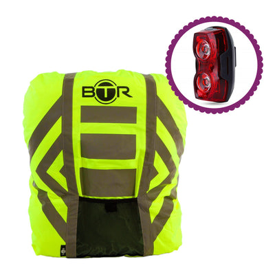 BTR Waterproof High Vis Reflective Backpack Rain Cover with Red LED Bike Light