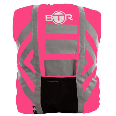 Pink hi vis waterproof backpack cover with reflective tape